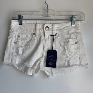 AEO Stretch Shortie White Distressed Jean Short 00